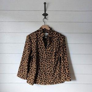 Dress Barn Leopard Microfiber Soft Jacket Large